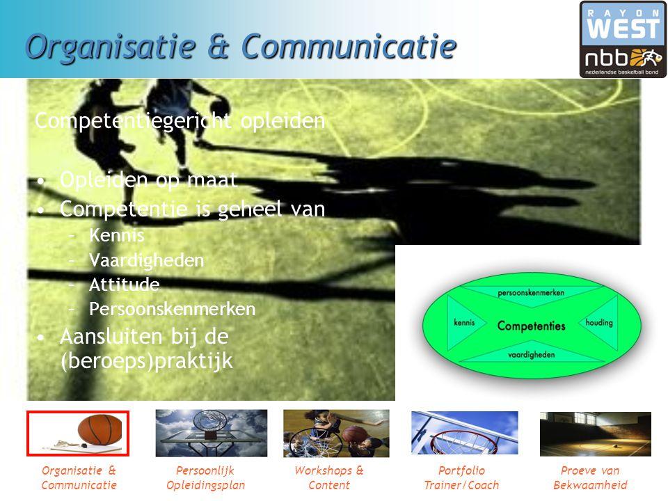 Organisatie & Communicatie Persoonlijk Opleidingsplan Workshops & Content Portfolio Trainer/Coach Proeve van Bekwaamheid Organisatie & Communicatie Competentiegericht opleiden Opleiden op maat Competentie is geheel van –Kennis –Vaardigheden –Attitude –Persoonskenmerken Aansluiten bij de (beroeps)praktijk