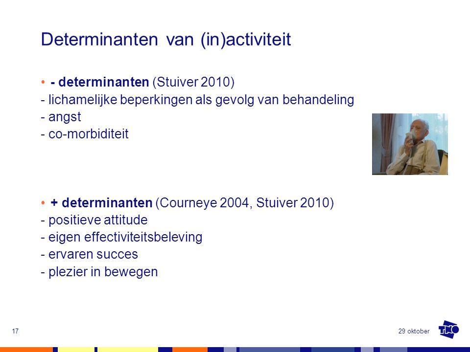 Determinanten van (in)activiteit - determinanten (Stuiver 2010) - lichamelijke beperkingen als gevolg van behandeling - angst - co-morbiditeit + deter