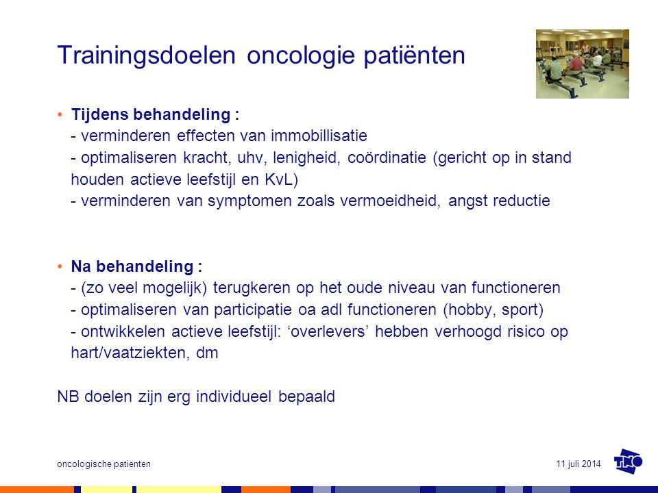 11 juli 2014oncologische patienten Trainingsdoelen oncologie patiënten Tijdens behandeling : - verminderen effecten van immobillisatie - optimaliseren