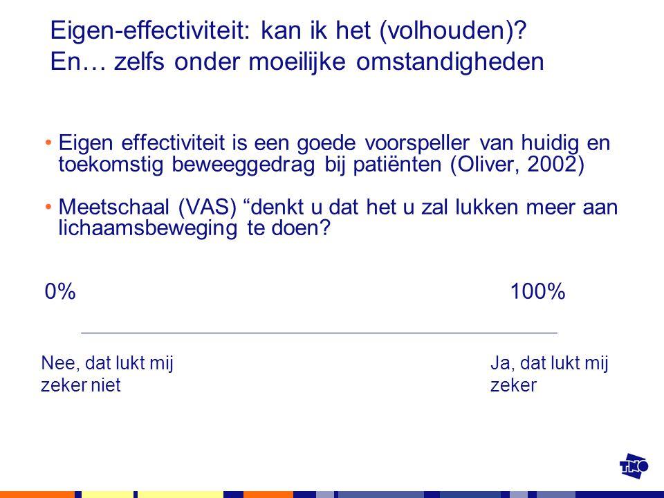 Eigen-effectiviteit: kan ik het (volhouden)? En… zelfs onder moeilijke omstandigheden Eigen effectiviteit is een goede voorspeller van huidig en toeko