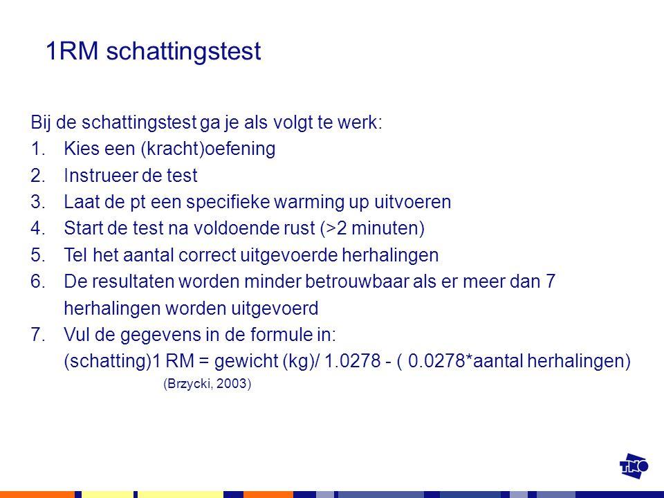 1RM schattingstest Bij de schattingstest ga je als volgt te werk: 1.Kies een (kracht)oefening 2.Instrueer de test 3.Laat de pt een specifieke warming
