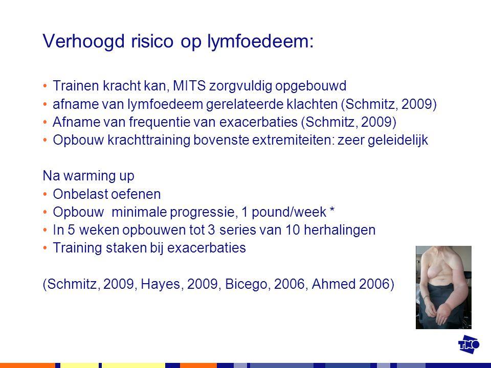 Verhoogd risico op lymfoedeem: Trainen kracht kan, MITS zorgvuldig opgebouwd afname van lymfoedeem gerelateerde klachten (Schmitz, 2009) Afname van fr