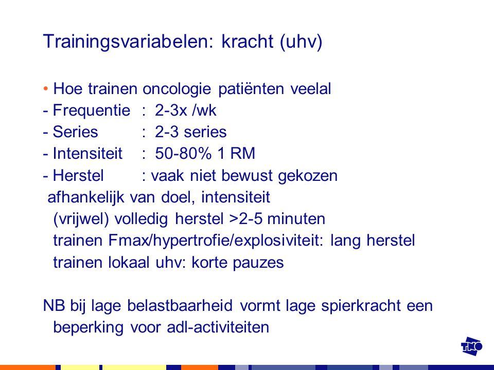 Trainingsvariabelen: kracht (uhv) Hoe trainen oncologie patiënten veelal - Frequentie: 2-3x /wk - Series: 2-3 series - Intensiteit : 50-80% 1 RM - Her
