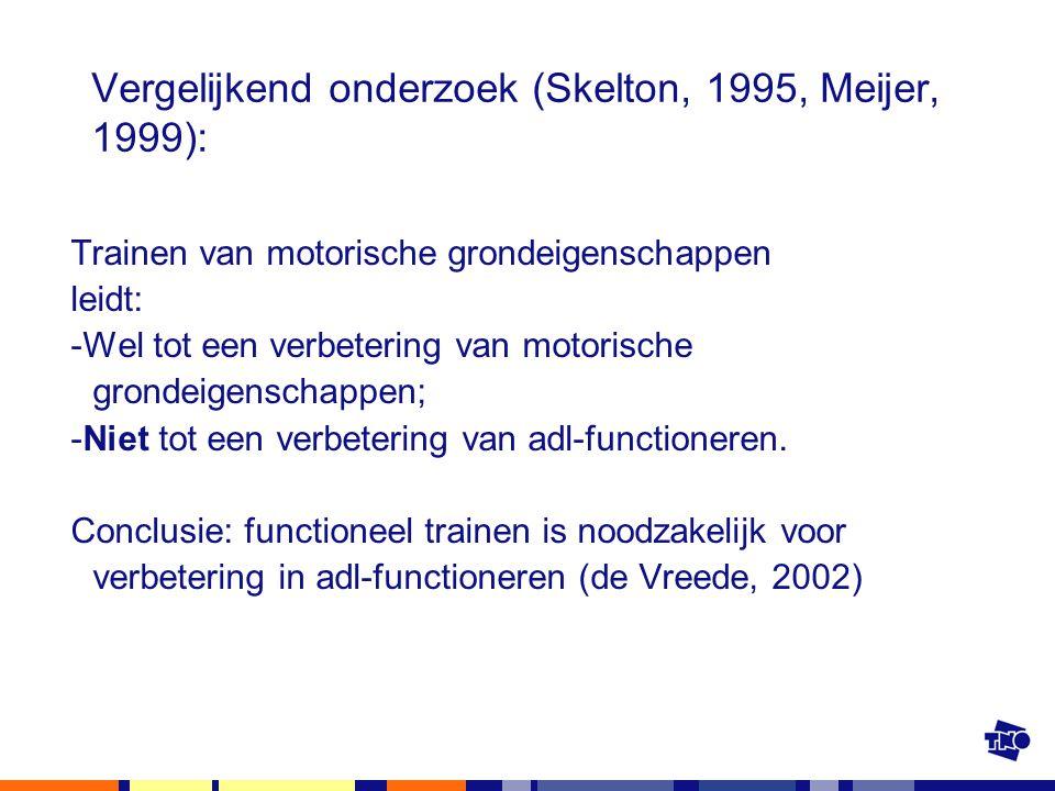 Vergelijkend onderzoek (Skelton, 1995, Meijer, 1999): Trainen van motorische grondeigenschappen leidt: -Wel tot een verbetering van motorische grondei