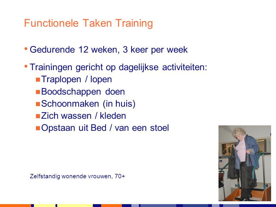 11 juli 2014 Functionele Taken Training Gedurende 12 weken, 3 keer per week Trainingen gericht op dagelijkse activiteiten:  Traplopen / lopen  Boods
