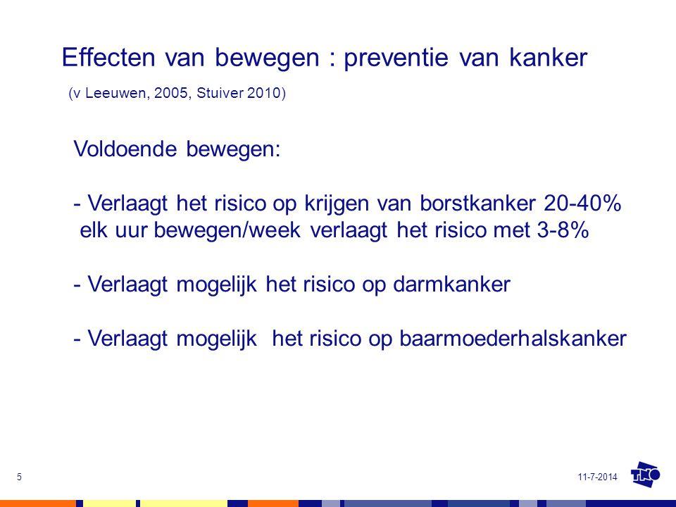 Effecten van bewegen : preventie van kanker (v Leeuwen, 2005, Stuiver 2010) 11-7-20145 Voldoende bewegen: - Verlaagt het risico op krijgen van borstka