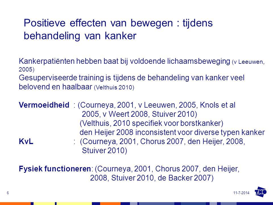 Positieve effecten van bewegen : tijdens behandeling van kanker 11-7-20146 Kankerpatiënten hebben baat bij voldoende lichaamsbeweging (v Leeuwen, 2005