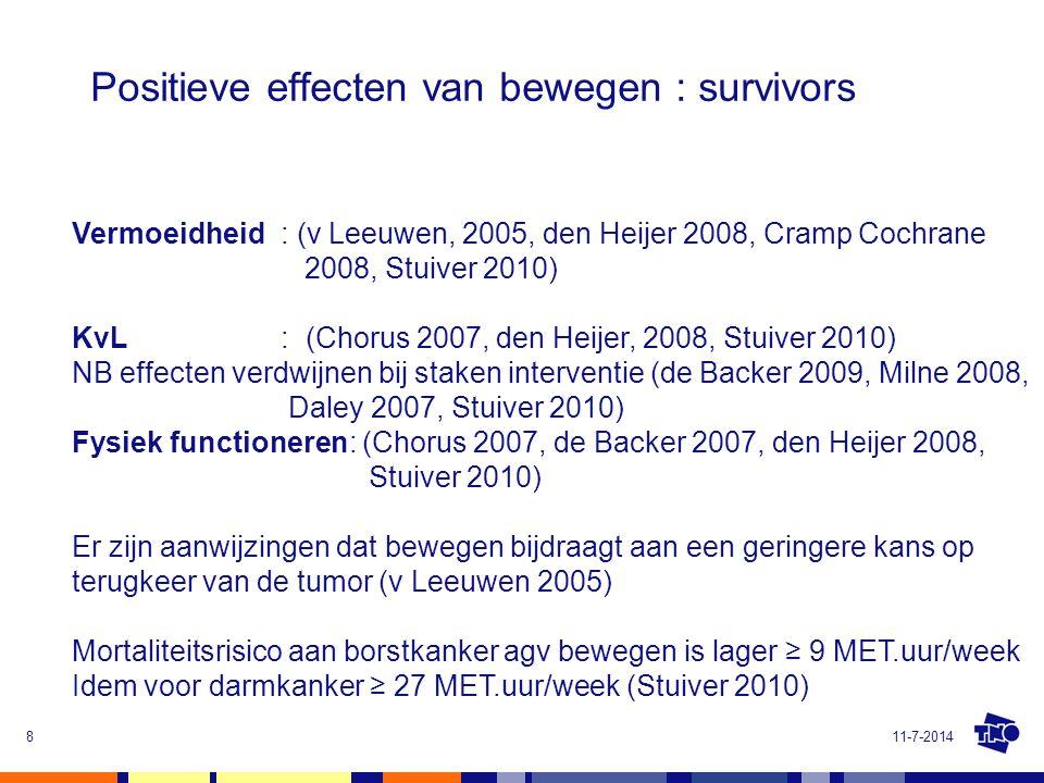 Positieve effecten van bewegen : survivors 11-7-20148 Vermoeidheid : (v Leeuwen, 2005, den Heijer 2008, Cramp Cochrane 2008, Stuiver 2010) KvL: (Choru