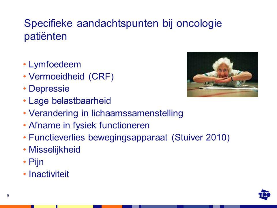 Specifieke aandachtspunten bij oncologie patiënten Lymfoedeem Vermoeidheid (CRF) Depressie Lage belastbaarheid Verandering in lichaamssamenstelling Af