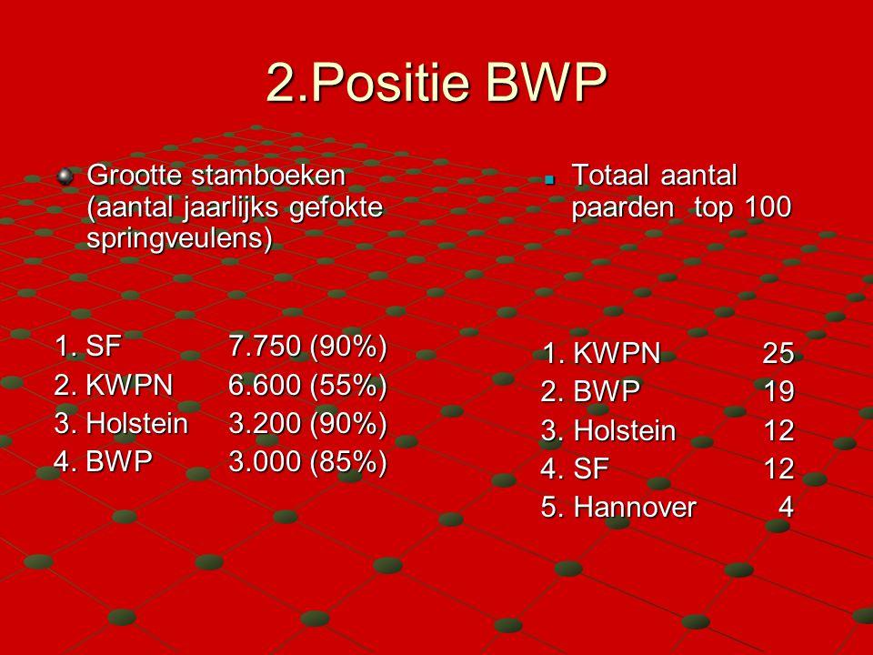 2.Positie BWP Grootte stamboeken (aantal jaarlijks gefokte springveulens) 1. SF7.750 (90%) 2. KWPN 6.600 (55%) 3. Holstein3.200 (90%) 4. BWP 3.000 (85