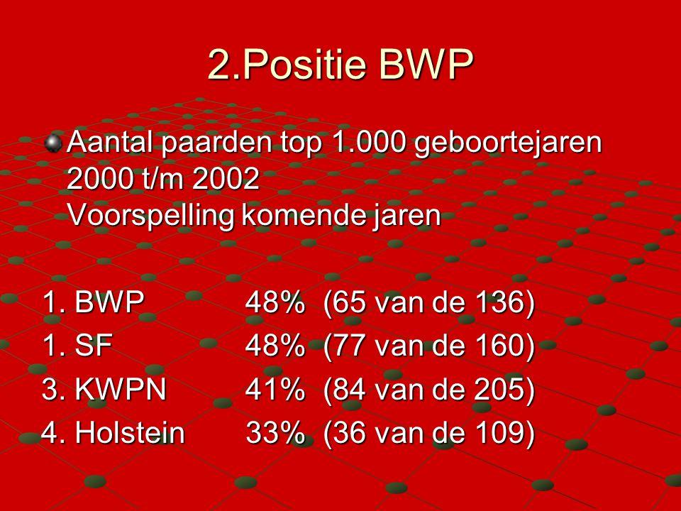 2.Positie BWP Aantal paarden top 1.000 geboortejaren 2000 t/m 2002 Voorspelling komende jaren 1. BWP48% (65 van de 136) 1. SF 48% (77 van de 160) 3. K