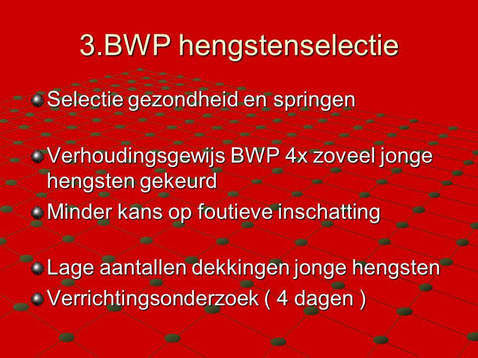3.BWP hengstenselectie Selectie gezondheid en springen Verhoudingsgewijs BWP 4x zoveel jonge hengsten gekeurd Minder kans op foutieve inschatting Lage aantallen dekkingen jonge hengsten Verrichtingsonderzoek ( 4 dagen )