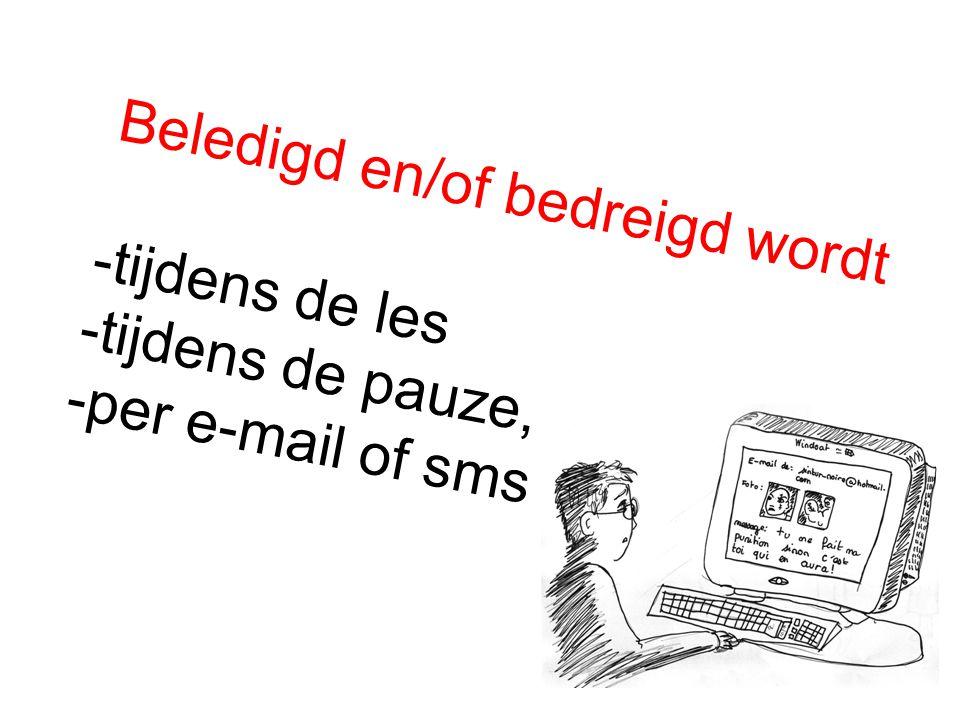Beledigd en/of bedreigd wordt -tijdens de les -tijdens de pauze, -per e-mail of sms
