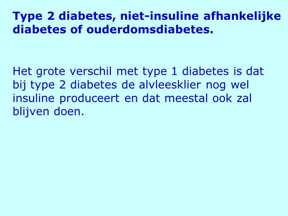 Het grote verschil met type 1 diabetes is dat bij type 2 diabetes de alvleesklier nog wel insuline produceert en dat meestal ook zal blijven doen. Typ
