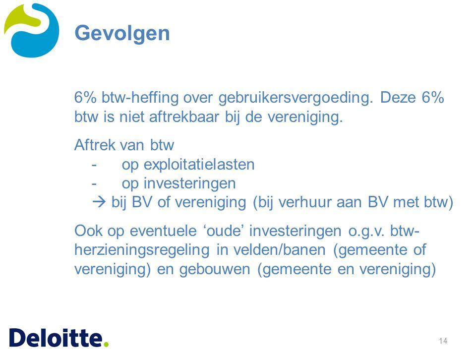 14 6% btw-heffing over gebruikersvergoeding. Deze 6% btw is niet aftrekbaar bij de vereniging. Aftrek van btw -op exploitatielasten -op investeringen