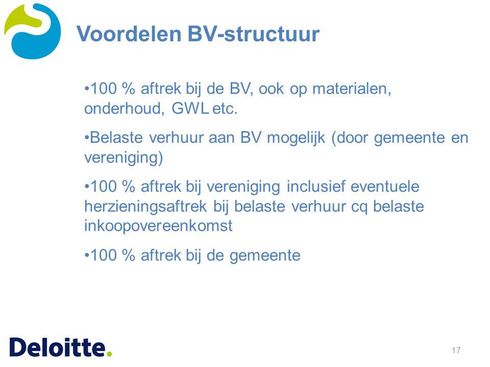 17 100 % aftrek bij de BV, ook op materialen, onderhoud, GWL etc. Belaste verhuur aan BV mogelijk (door gemeente en vereniging) 100 % aftrek bij veren