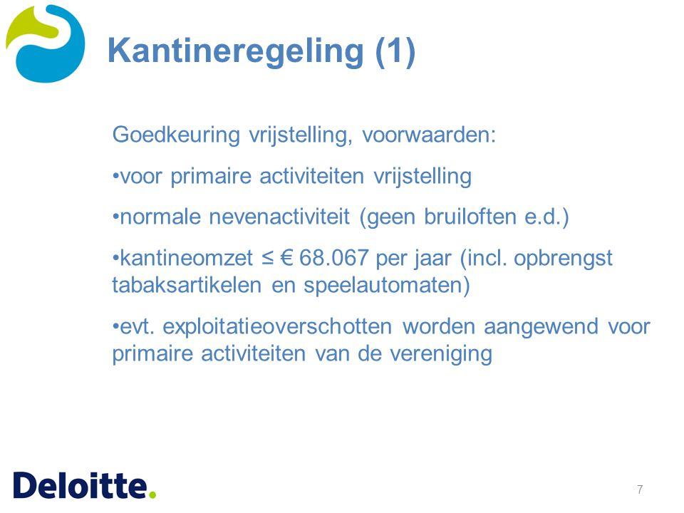 7 Goedkeuring vrijstelling, voorwaarden: voor primaire activiteiten vrijstelling normale nevenactiviteit (geen bruiloften e.d.) kantineomzet ≤ € 68.067 per jaar (incl.