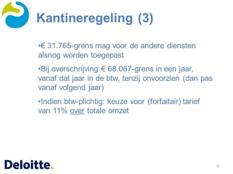 9 € 31.765-grens mag voor de andere diensten alsnog worden toegepast Bij overschrijving € 68.067-grens in een jaar, vanaf dat jaar in de btw, tenzij o