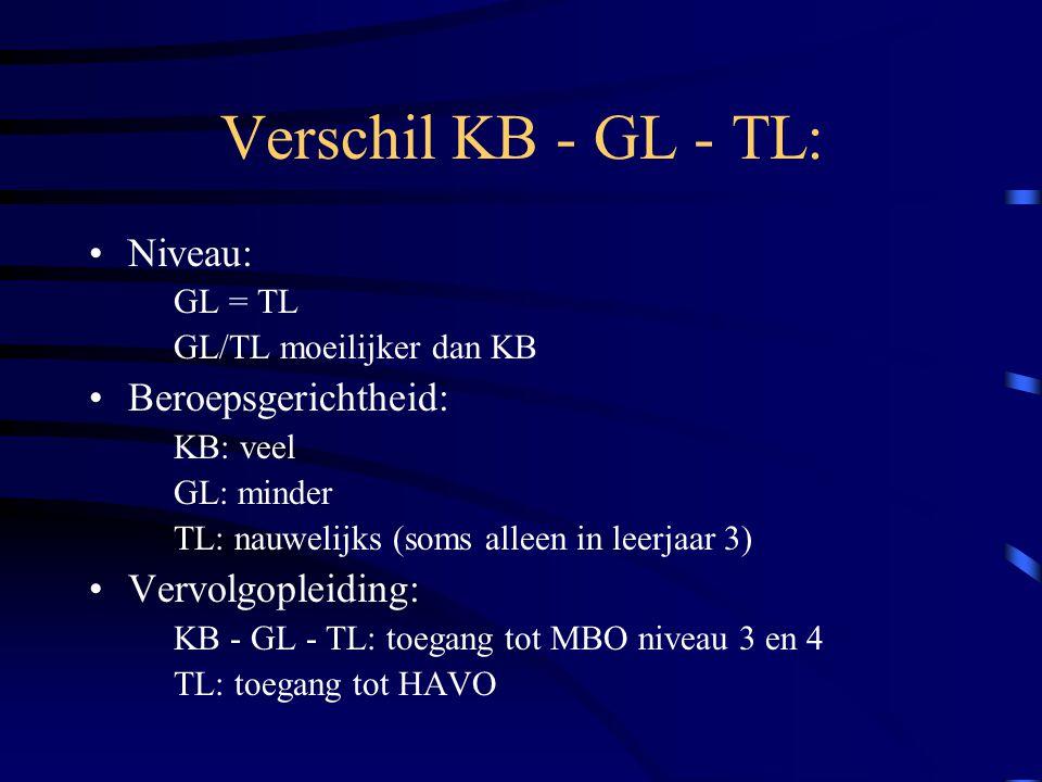 Verschil KB - GL - TL: Niveau: GL = TL GL/TL moeilijker dan KB Beroepsgerichtheid: KB: veel GL: minder TL: nauwelijks (soms alleen in leerjaar 3) Verv