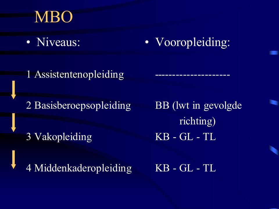Niveaus: 1 Assistentenopleiding 2 Basisberoepsopleiding 3 Vakopleiding 4 Middenkaderopleiding Vooropleiding: --------------------- BB (lwt in gevolgde