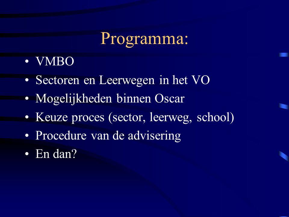 Programma: VMBO Sectoren en Leerwegen in het VO Mogelijkheden binnen Oscar Keuze proces (sector, leerweg, school) Procedure van de advisering En dan?