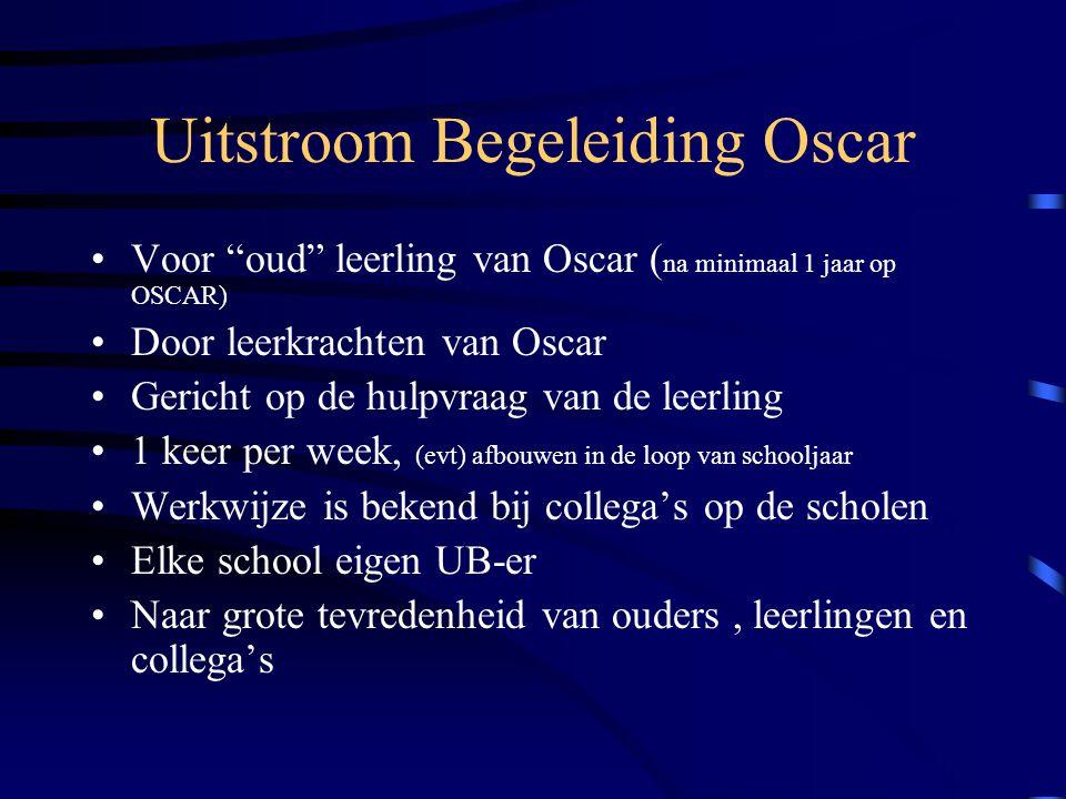 """Uitstroom Begeleiding Oscar Voor """"oud"""" leerling van Oscar ( na minimaal 1 jaar op OSCAR) Door leerkrachten van Oscar Gericht op de hulpvraag van de le"""