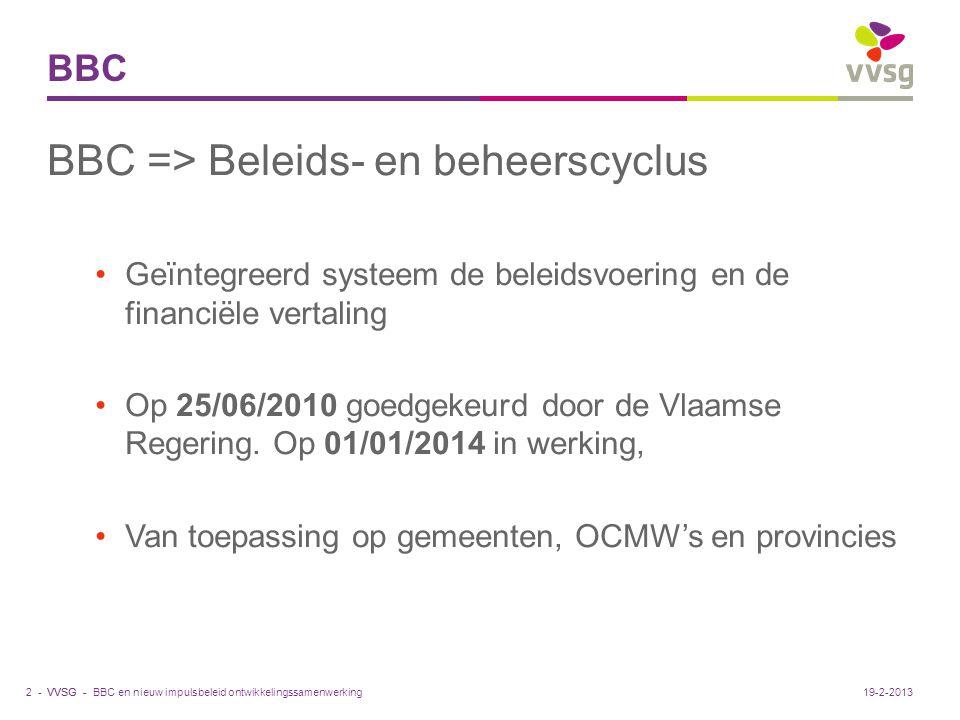 VVSG - BBC BBC => Beleids- en beheerscyclus Geïntegreerd systeem de beleidsvoering en de financiële vertaling Op 25/06/2010 goedgekeurd door de Vlaams