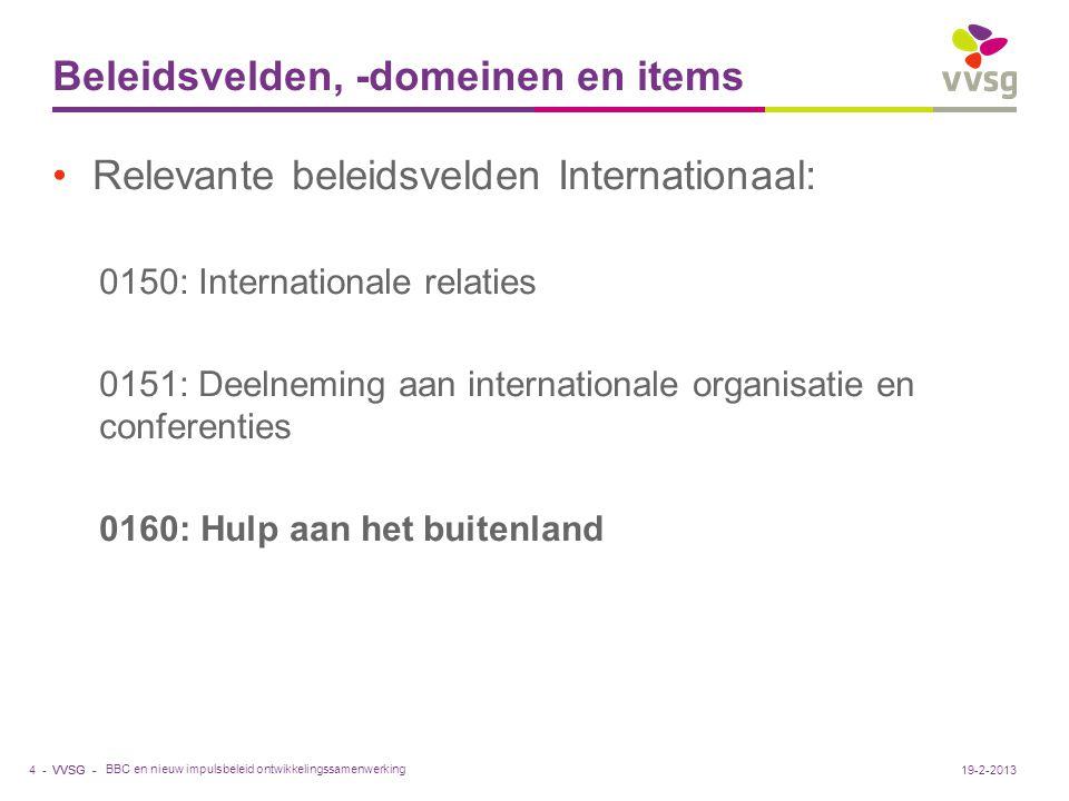 VVSG - Beleidsvelden, -domeinen en items BBC en nieuw impulsbeleid ontwikkelingssamenwerking 4 -19-2-2013 Relevante beleidsvelden Internationaal: 0150