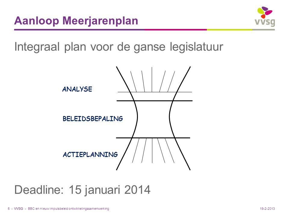 VVSG - Aanloop Meerjarenplan Integraal plan voor de ganse legislatuur Deadline: 15 januari 2014 BBC en nieuw impulsbeleid ontwikkelingssamenwerking5 -