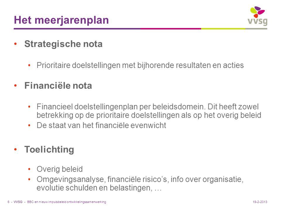 VVSG - Het meerjarenplan Strategische nota Prioritaire doelstellingen met bijhorende resultaten en acties Financiële nota Financieel doelstellingenpla