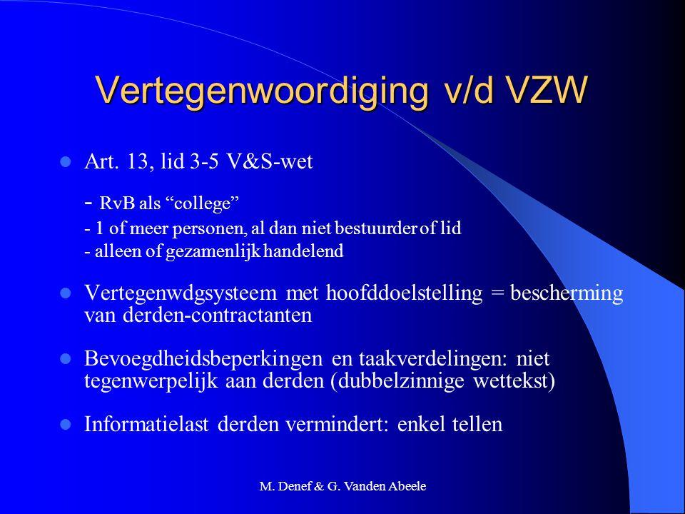 """M. Denef & G. Vanden Abeele Vertegenwoordiging v/d VZW Art. 13, lid 3-5 V&S-wet - RvB als """"college"""" - 1 of meer personen, al dan niet bestuurder of li"""