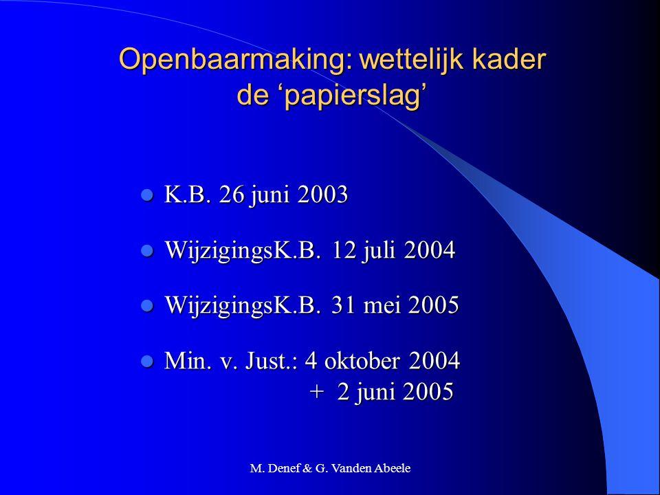 M. Denef & G. Vanden Abeele Openbaarmaking: wettelijk kader de 'papierslag' K.B. 26 juni 2003 K.B. 26 juni 2003 WijzigingsK.B. 12 juli 2004 Wijzigings