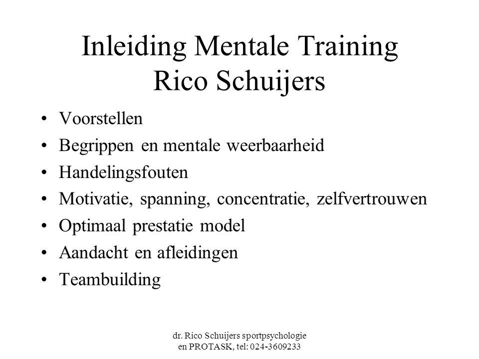 dr. Rico Schuijers sportpsychologie en PROTASK, tel: 024-3609233 Inleiding Mentale Training Rico Schuijers Voorstellen Begrippen en mentale weerbaarhe