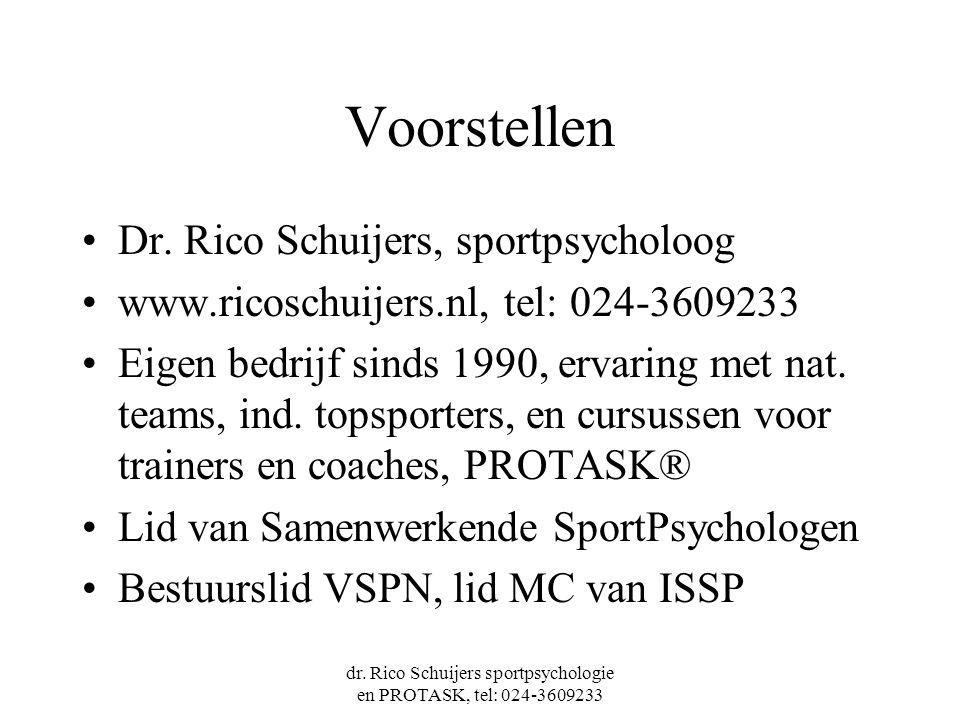 dr. Rico Schuijers sportpsychologie en PROTASK, tel: 024-3609233 Voorstellen Dr. Rico Schuijers, sportpsycholoog www.ricoschuijers.nl, tel: 024-360923