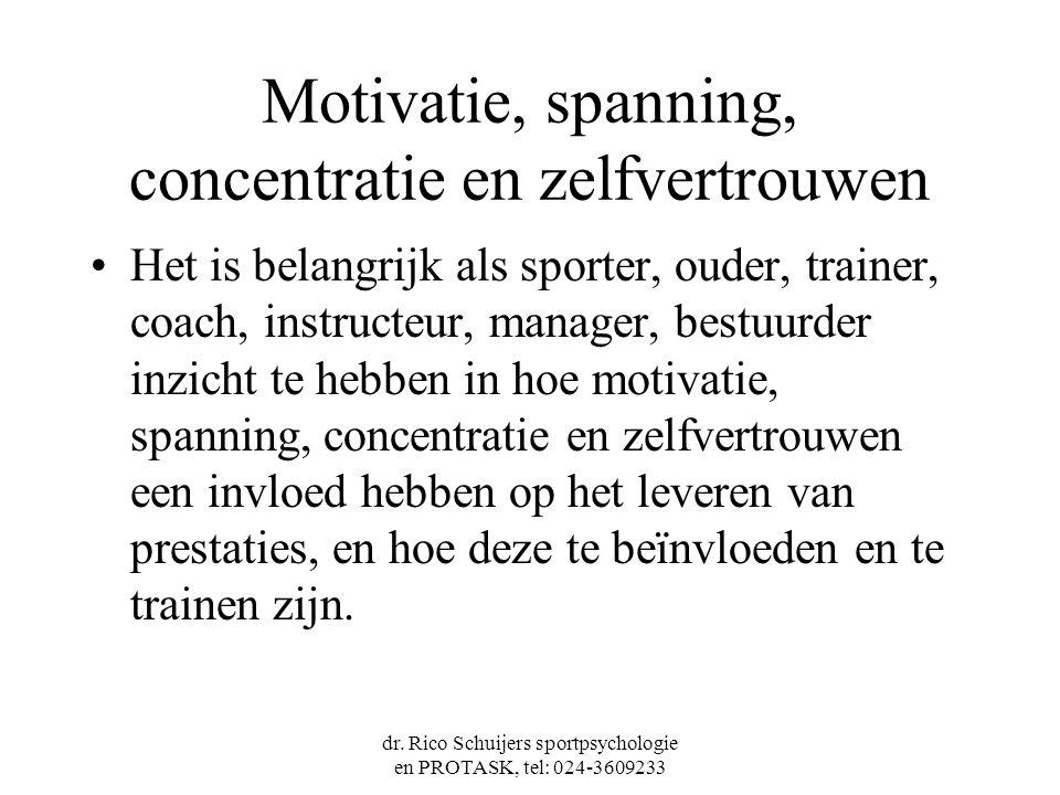 dr. Rico Schuijers sportpsychologie en PROTASK, tel: 024-3609233 Motivatie, spanning, concentratie en zelfvertrouwen Het is belangrijk als sporter, ou