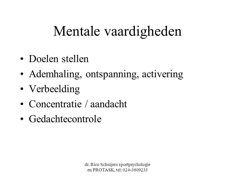 dr. Rico Schuijers sportpsychologie en PROTASK, tel: 024-3609233 Mentale vaardigheden Doelen stellen Ademhaling, ontspanning, activering Verbeelding C