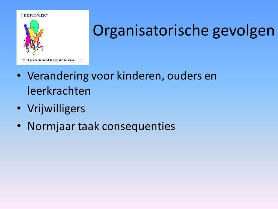 Organisatorische gevolgen Verandering voor kinderen, ouders en leerkrachten Vrijwilligers Normjaar taak consequenties