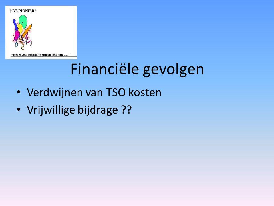 Financiële gevolgen Verdwijnen van TSO kosten Vrijwillige bijdrage