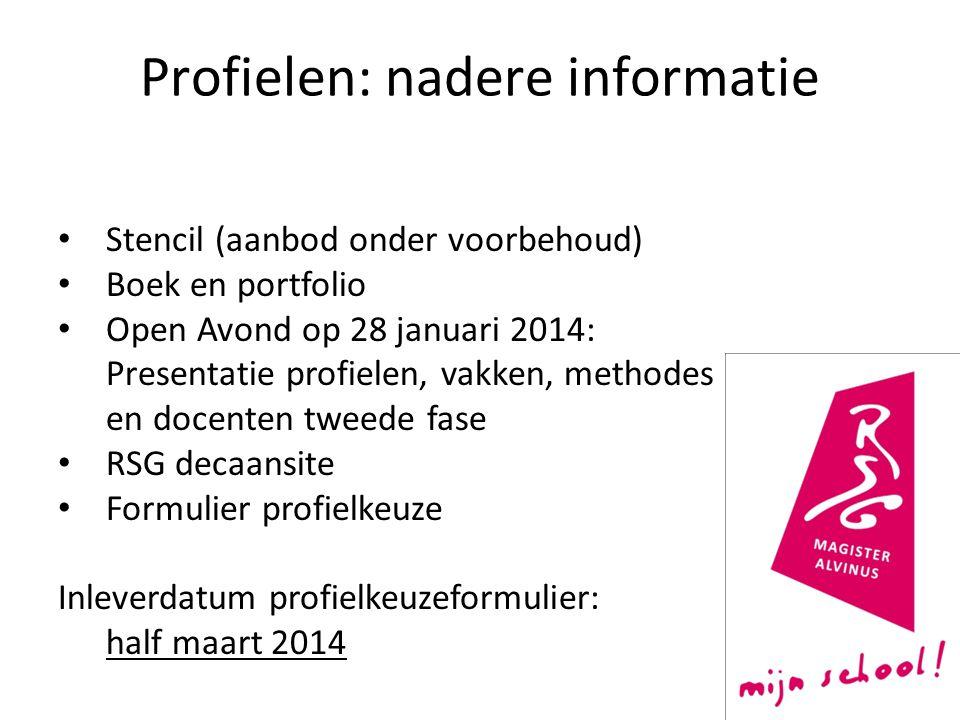 Profielen: nadere informatie Stencil (aanbod onder voorbehoud) Boek en portfolio Open Avond op 28 januari 2014: Presentatie profielen, vakken, methode