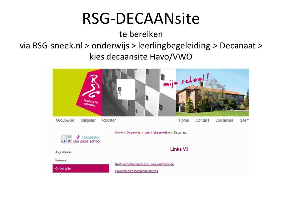 RSG-DECAANsite te bereiken via RSG-sneek.nl > onderwijs > leerlingbegeleiding > Decanaat > kies decaansite Havo/VWO