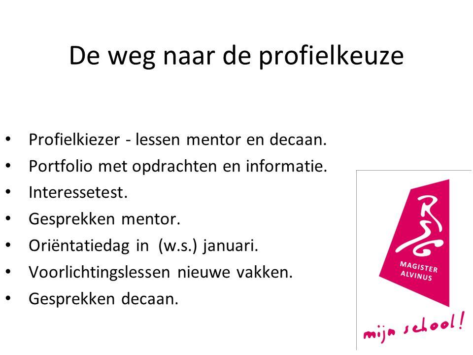 De weg naar de profielkeuze Profielkiezer - lessen mentor en decaan. Portfolio met opdrachten en informatie. Interessetest. Gesprekken mentor. Oriënta