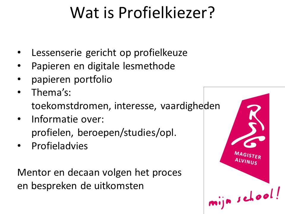 Wat is Profielkiezer? Lessenserie gericht op profielkeuze Papieren en digitale lesmethode papieren portfolio Thema's: toekomstdromen, interesse, vaard
