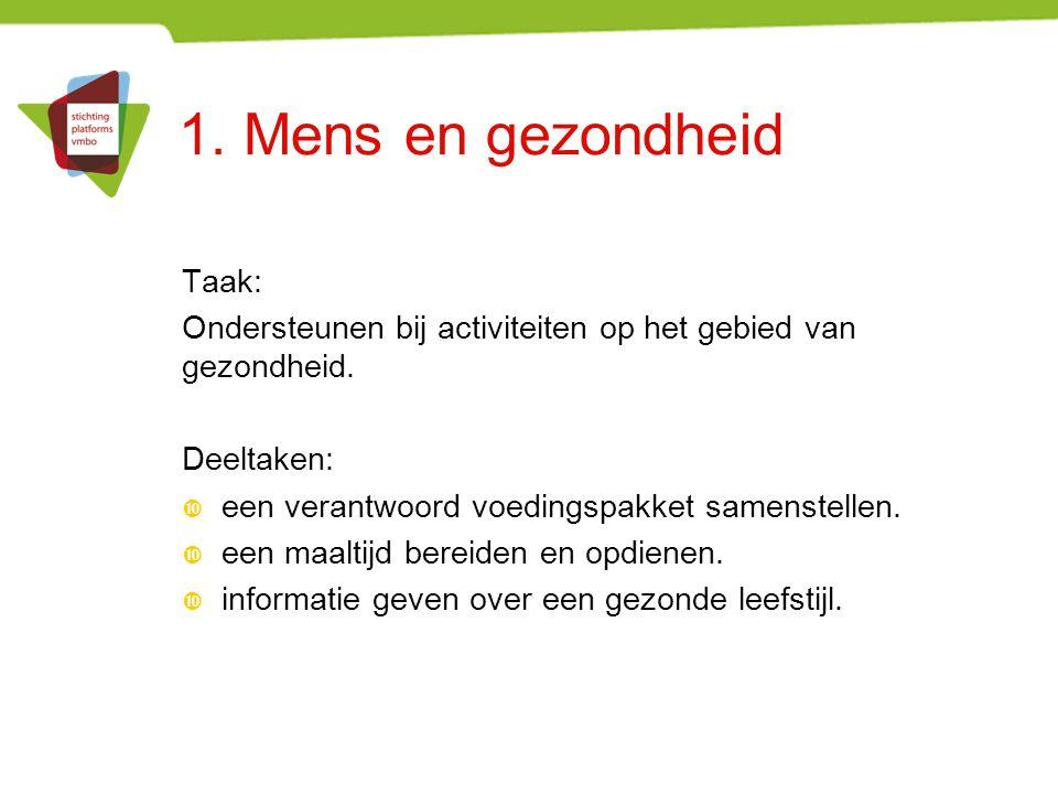 1. Mens en gezondheid Taak: Ondersteunen bij activiteiten op het gebied van gezondheid. Deeltaken:  een verantwoord voedingspakket samenstellen.  ee