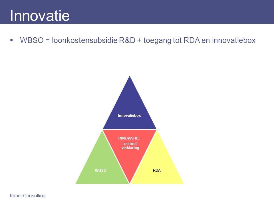 Kapar Consulting Innovatie  WBSO = loonkostensubsidie R&D + toegang tot RDA en innovatiebox InnovatieboxWBSO INNOVATIE: - octrooi - verklaring RDA