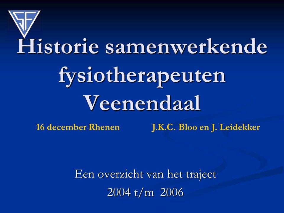 Historie samenwerkende fysiotherapeuten Veenendaal Een overzicht van het traject 2004 t/m 2006 16 december Rhenen J.K.C. Bloo en J. Leidekker