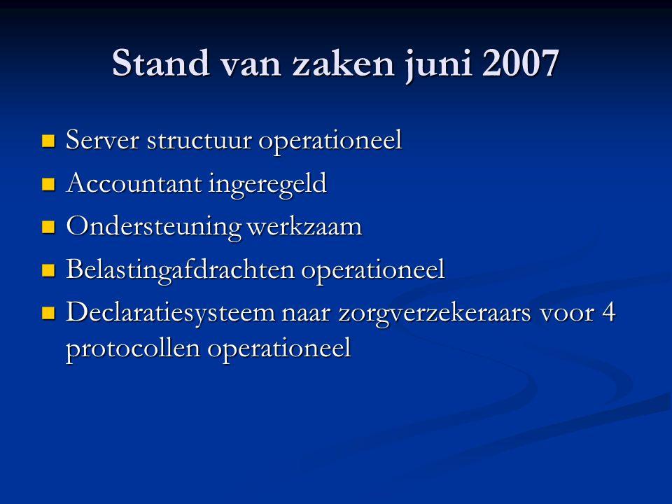 Stand van zaken juni 2007 Server structuur operationeel Server structuur operationeel Accountant ingeregeld Accountant ingeregeld Ondersteuning werkza