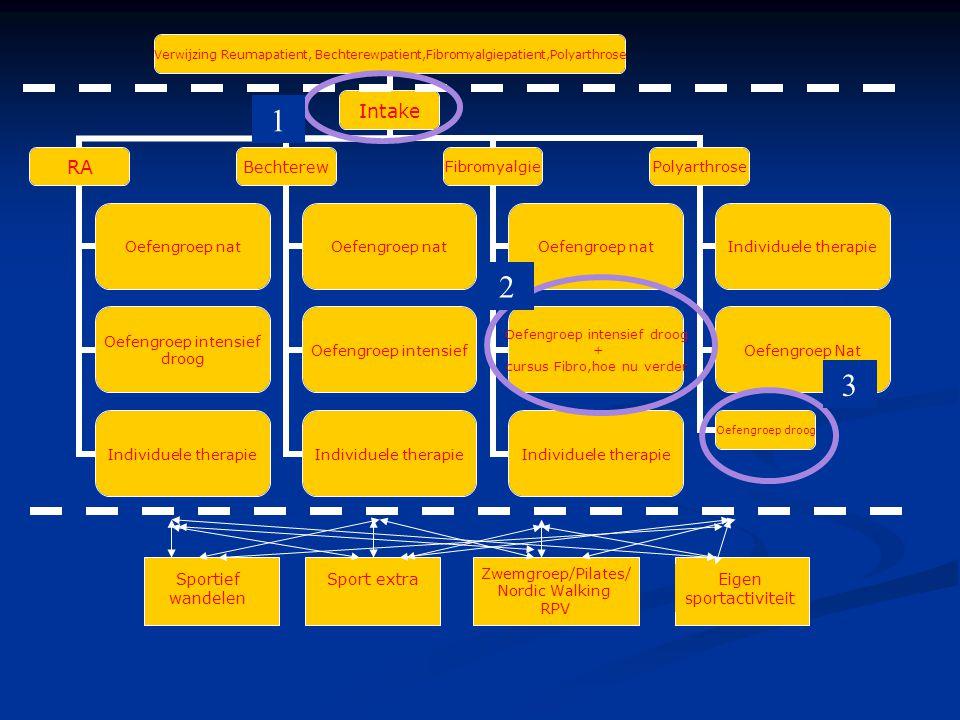 Verwijzing Reumapatient, Bechterewpatient,Fibromyalgiepa tient,Polyarthrose Intake RA Oefengroep nat Oefengroep intensief droog Individuele therapie Bechterew Oefengroep nat Oefengroep intensief Individuele therapie Fibromyalgie Oefengroep nat Oefengroep intensief droog + cursus Fibro,hoe nu verder Individuele therapie Polyarthrose Individuele therapie Oefengroep Nat Oefengroep droog Zwemgroep/Pilates/ Nordic Walking RPV Sportief wandelen Eigen sportactiviteit 1 2 3 Sport extra