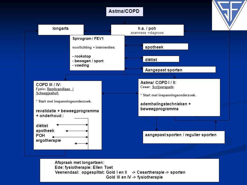 h.a. / poh anamnese +diagnose Astma/ COPD I / II: Cesar: Scrijverspark: * Start met inspanningsonderzoek. ademhalingstechnieken + beweegprogramma Spir