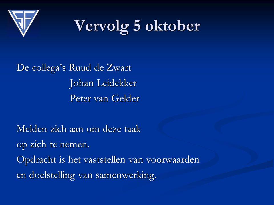 Vervolg 5 oktober De collega's Ruud de Zwart Johan Leidekker Johan Leidekker Peter van Gelder Peter van Gelder Melden zich aan om deze taak op zich te