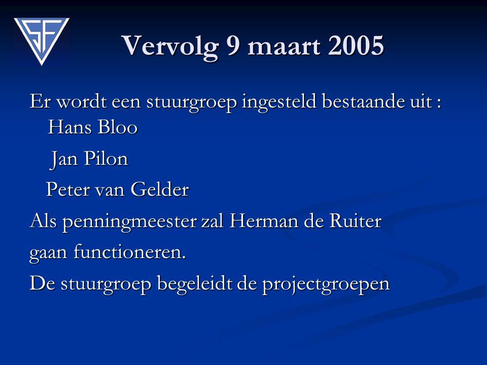 Vervolg 9 maart 2005 Er wordt een stuurgroep ingesteld bestaande uit : Hans Bloo Jan Pilon Jan Pilon Peter van Gelder Peter van Gelder Als penningmees